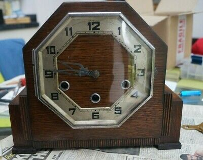 GUFA (Schatz) ART DECO triple chime mantel clock.Westminster/Whitt/St.SEE VIDEO.