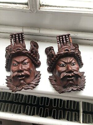 Pair Of Chinese Wooden Masks Of A Mythological Figures Dragons On Head Crown