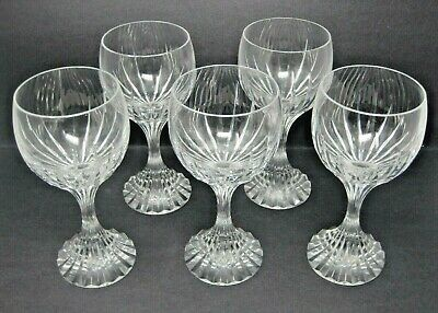 BACCARAT MASSENA set of  5 Crystal Water Goblet Wine Stem Glass 7 Inches