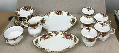 21 Pieces Of Floral Royal Albert Old Country Roses Bone China Tea Set #946