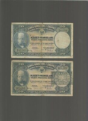 20 FRANKA ARI Fine Banknote From Albania Nd 1926 Pick-3