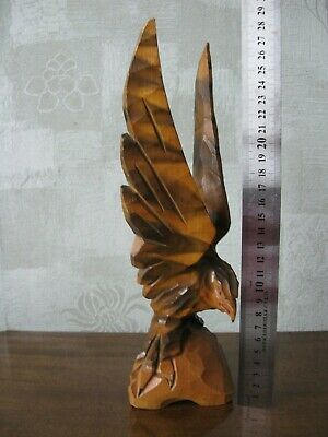 USSR wood carving statue Wooden eagle,  height 28 cm