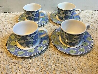 Pfaltzgraff Blue Isle Ivy Blue & Green Leaves Cups & Saucers 8 pieces Set of 4