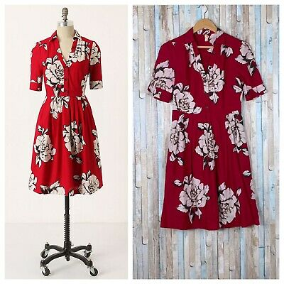 7fc6fe258b43c Anthropologie 6 Rare Maeve Red Floral Button Front Fit Flare Dagmar  Shirtdress