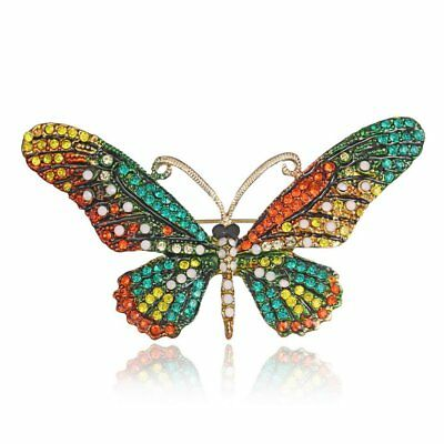 Charm Butterfly Gold Plated Full Crystal Brooch Pin Womens Costum Jewellery Gift