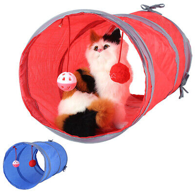 Folding Pet Cat Tunnel Kitten Toy Play Fun With Ball Printed Scratch Playing