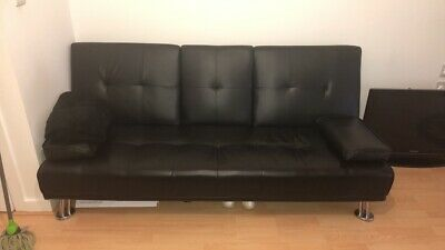 Faux Leather Sofa Bed Black3 Seater Drinks Holder Modern Luxury Design Furniture