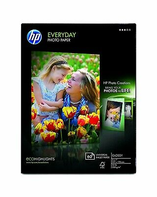 NEW HP Genuine Photo Paper 60 Sheets 5x7 Glossy CH097A