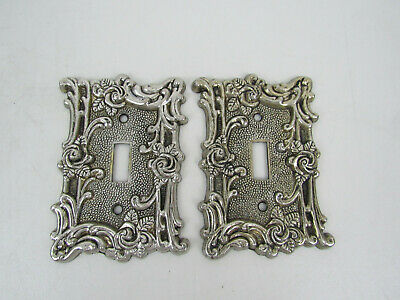 Vintage 1967 Amer.Tack Ornate Antique Brass Metal Wall Switch Plate Covers