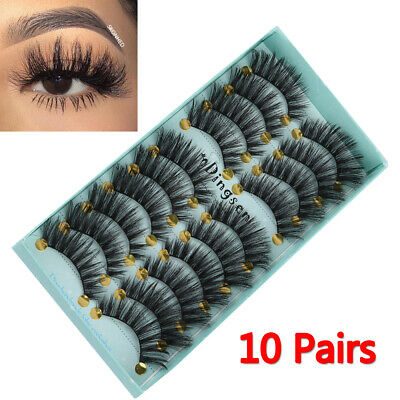 1d94e0ab335 DINGSEN 10 Pairs 3D False Eyelashes Wispy Fluffy Natural Long Lashes  Handmade*