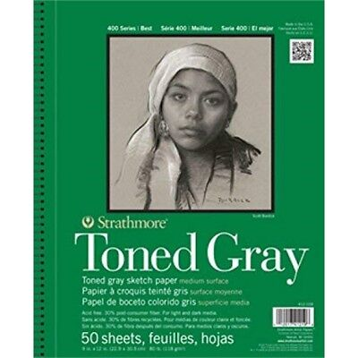 """Strathmore 412-105 Spiral Toned Sketch Book 5.5""""x8.5""""-gray 50 Sheets - Paper"""
