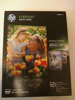 NEW HP Genuine Photo Paper 60 Sheets 5x7 Glossy CH097A NIP