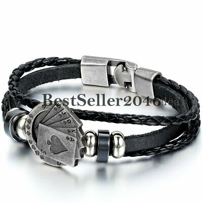 Men Charm Poker Card Multilayer Leather Rope Cuff Bangle Bracelet Wristband Gift