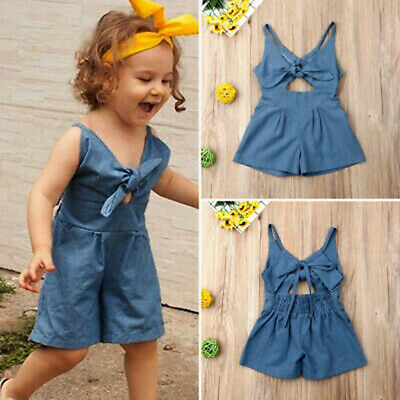 2Pcs Toddler Kids Baby Girls Strap Knotted Artifical Denim Romper  set Outfits