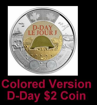 2019 CANADA 🥇 D-Day $2 Dollar Coin - Colored Version; BU from Roll; L👀K 🏆