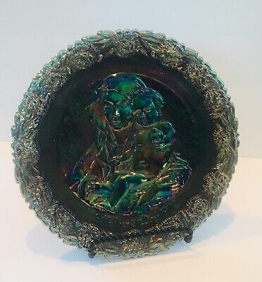 Vintage Fenton Carnival Glass Plate Mothers Day 1972 Mother And Child