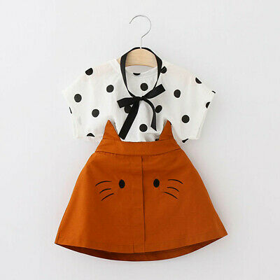 3Pcs Toddler Kid Baby Girl Outfits Clothes Dot T-shirt+Cat Embroidery Skirt Set