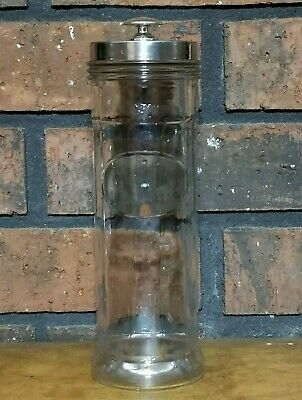 "Vintage Straw Holder Dispenser Panel Clear Glass Metal Retro Decor Bar 9"" Tall"