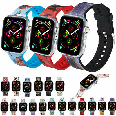 Silicone Band Flower Floral Print Strap For Apple Watch Series1234 38/42/40/44mm