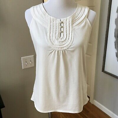63a568d21048c5 Banana Republic Women's Cream Sleeveless Top With Gold Button Accents Size  Small