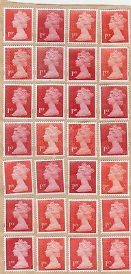 100 1st class unfranked stamps all red security types on greaseproof paper