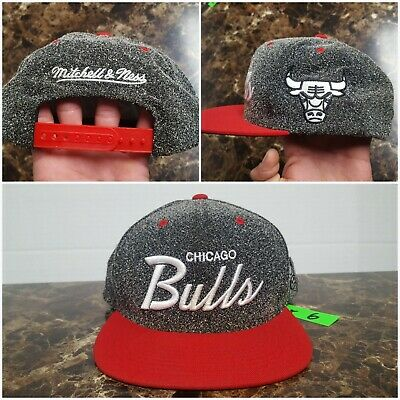 6f0cfd88 Chicago Bulls Mitchell & Ness Men's snapback hat cap NBA gray red white  script