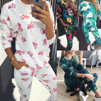 UK 2Pcs Womens Tracksuit Flamingo Hoodies Pants Set Ladies Lounge Wear Suit 6-16