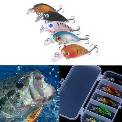 5pcs Minnow Fishing Lures Bass Crankbait Hooks Tackle Crank Baits + Fishing Box
