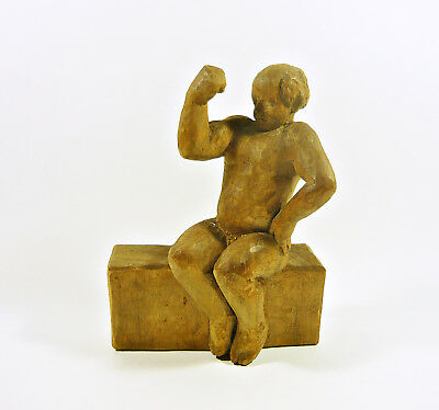 "Nude Muscle Man Flexing 7"", Vintage Artist Signed Woodenware Carved Figurine !"