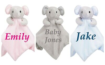 Personalised Elephant Comforter Blanket Birth Christening Gift Embroidered New