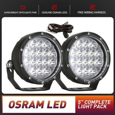Pair 5inch LED Driving Lights Work Spot Spotlights Cree Round Offroad 4WD Black