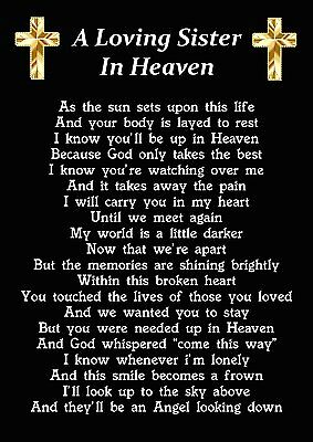 A Loving Sister In Heaven Memorial Graveside Poem Card With Ground Stake F231
