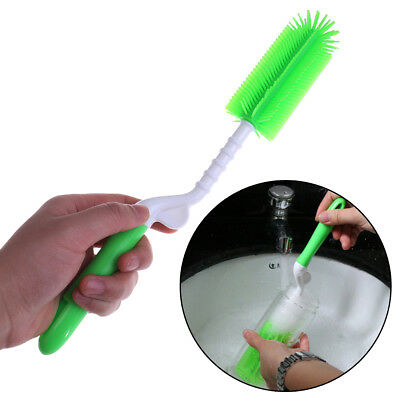 1Pc Silicon green baby bottle brush 360 rotation milk bottle cup brushes