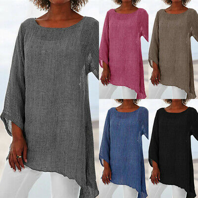UK Women Long Sleeve Linen Baggy Blouse Shirt Ladies Summer Tunic Tops Size 6-24