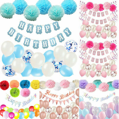 Happy Birthday Bunting Banner Balloons Pompoms Party 18/21st/30/40/50/60th Decor