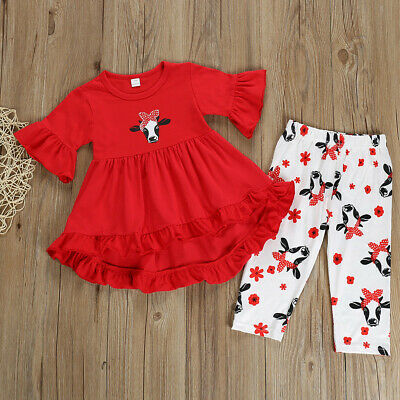 2Pcs Tops+Pants Baby Kids Children Girls Toddler Ruffle Cartoon Print Outfit Set
