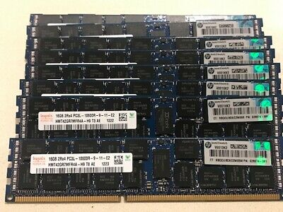 (LOT OF 8) (TOTAL OF 128GB) HP/HYNIX 16GB 2Rx4 PC3L-10600R HP P/N: 628974-081