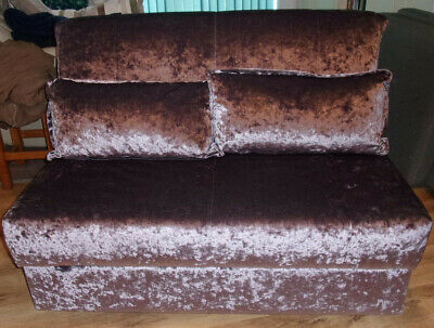 sofa bed fold out double in lovely velour with cushions and cover