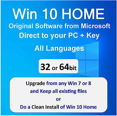 Win 10 Home Key 32/64bit - Clean Install or Upgrade Win 7/8 - Microsoft Install