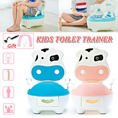 Kid Baby Toilet Training Children Safety Toddler Potty Trainer Seat Chair + Pad