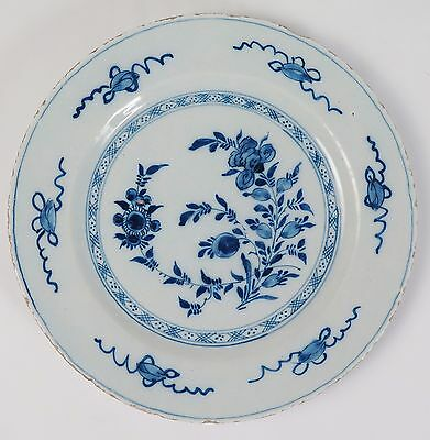 18th century Blue and White English Delft tin glaze faience plate