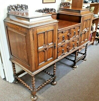Antique Solid Oak Jacobean Gothic Style Buffet Sideboard Barley Twist Carved