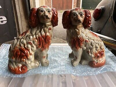 Antique Pair of Staffordshire Wally Dog Spaniels Ex Cond