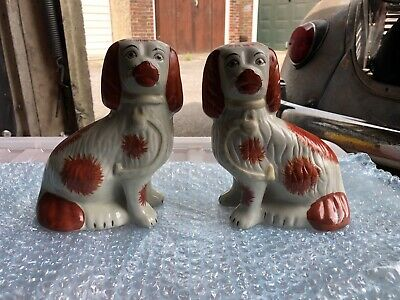 Pair of Antique Staffordshire  Pottery Spaniel Wally Dogs