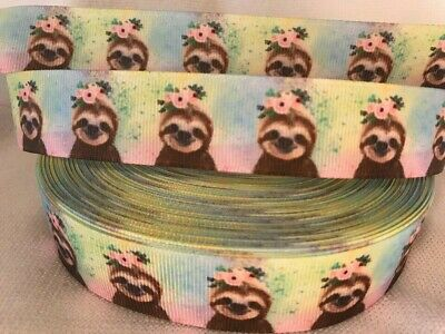 "Sloth Grosgrain Ribbon sold by 2m - 1"" - 25mm wide- Hair - Lanyard etc"