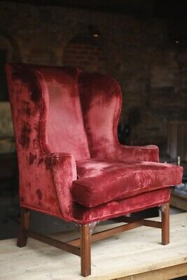 Large proportioned Late 19th century Wingback armchair in Red velvet