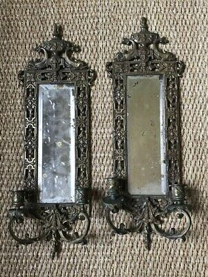 Antique Gilt Brass Mirrored Sconce Pair ~ In Manner of Bradley and Hubbard