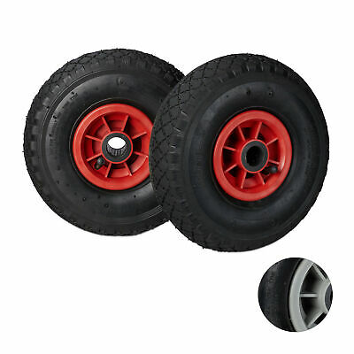 2 x Hand Truck Replacement Wheels, Pneumatic Rubber Spare Tyres, Plastic Rims