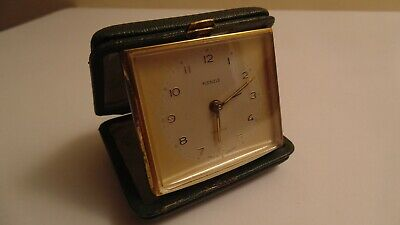 Vintage Art Deco Kienzle Travel Alarm Clock in Green Leather Case Works
