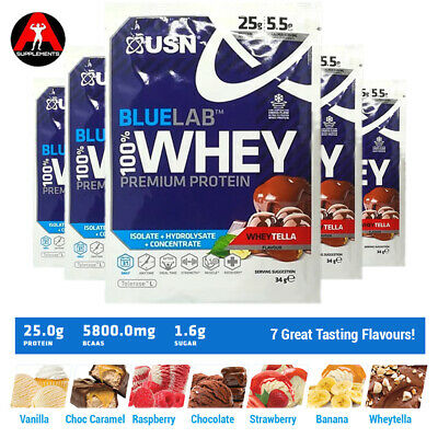 USN Blue Lab Whey 100% Pure Whey Protein powder 34g Samples 1 / 3 / 5 Packs